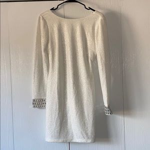 Backless white sparkly long sleeve dress